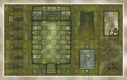 This large map uses just 10 of the 18 tiles in the Graveyard set, and provides handy places to bury slain characters, too!
