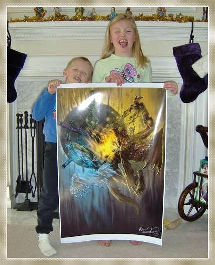 The Gamer Bling Expansions voice their displeasure that their father makes them hold such a juicy piece of art. In punishment, he is mounting it in their bedrooms.